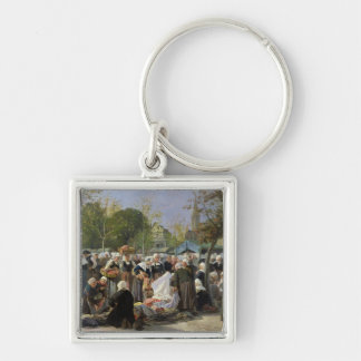 The Material Market Silver-Colored Square Keychain
