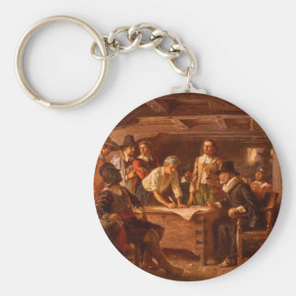 The Mayflower Compact by Jean Leon Gerome Ferris Basic Round Button Keychain