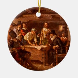 The Mayflower Compact by Jean Leon Gerome Ferris Ceramic Ornament