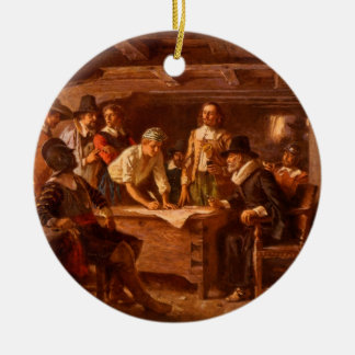 The Mayflower Compact by Jean Leon Gerome Ferris Round Ceramic Ornament