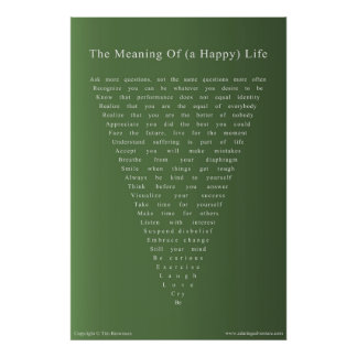 The Meaning of (a Happy) Life Poster - 24x36 green
