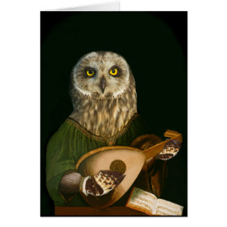 The Medieval Owl Plays His Lute Card