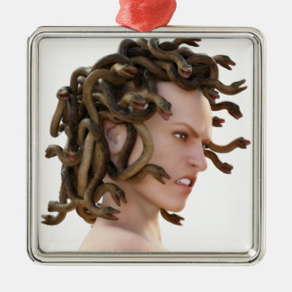 The Medusa Silver-Colored Square Ornament