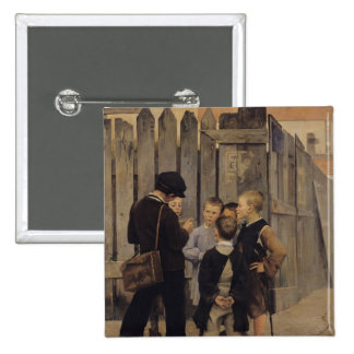 The Meeting, 1884 2 Inch Square Button