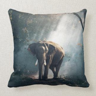The Meeting Asian Elephant Throw Pillow