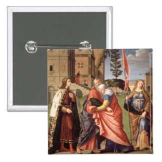 The Meeting at the Golden Gate with Saints, 1515 ( 2 Inch Square Button