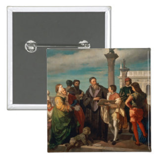 The Meeting Between Titian (1488-1576) and Verones 2 Inch Square Button