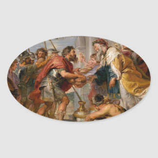 The Meeting of Abraham and Melchizedek Rubens Art Oval Sticker