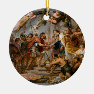 The Meeting of Abraham and Melchizedek Rubens Art Round Ceramic Ornament