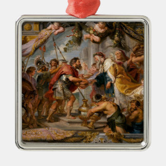 The Meeting of Abraham and Melchizedek Rubens Art Silver-Colored Square Ornament