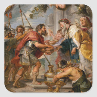 The Meeting of Abraham and Melchizedek Rubens Art Square Sticker