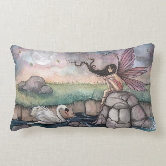 The Meeting Place Fairy and Swan Fantasy Art Lumbar Pillow