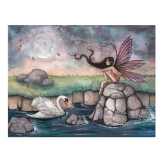The Meeting Place Fairy and Swan Fantasy Art Postcard