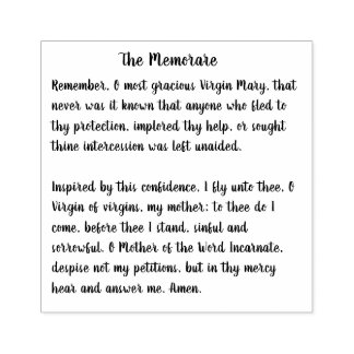The Memorare of the Blessed Virgin Mary Rubber Stamp