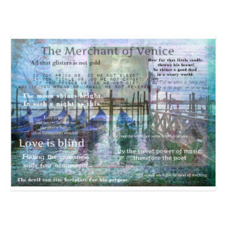 The Merchant of Venice Shakespeare quotes Postcard