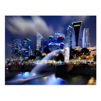 The Merlion and Singapore Skyline Postcard