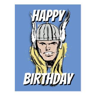 The Mighty Thor Retro Comic Halftone Head Postcard