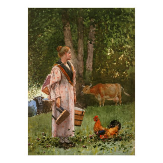 The Milk Maid, by Winslow Homer Poster