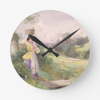 The Milkmaid, 1860 (w/c on paper) Clocks