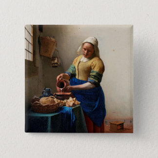 THE MILKMAID 2 INCH SQUARE BUTTON