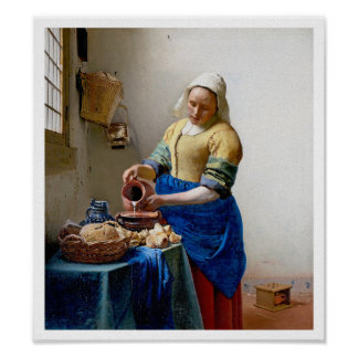 The Milkmaid by Jan Vermeer - Vintage Art Poster