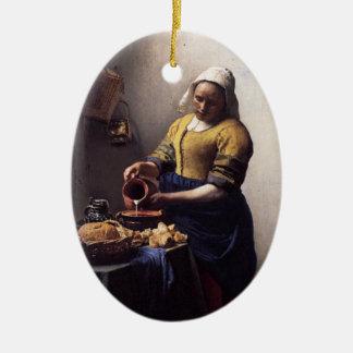 The Milkmaid by Johannes Vermeer Ceramic Ornament