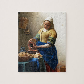 The Milkmaid, Custom gift. Painting by Vermeer Jigsaw Puzzle