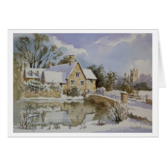 The Mill Fairford in snow 001 Card