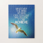 The Mind Can Achieve Seagull Motivational Quote Jigsaw Puzzle
