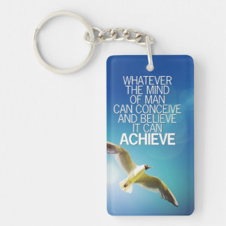 The Mind Can Achieve Seagull Motivational Quote Keychain