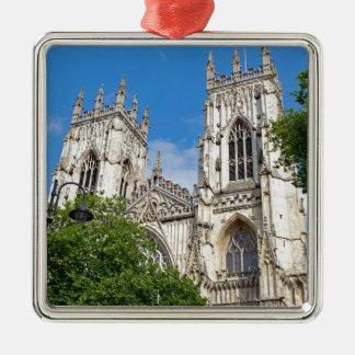The Minster in York Silver-Colored Square Ornament