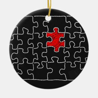 The Missing Piece Round Ceramic Ornament