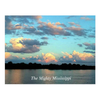 The Mississippi River with the Sun Setting Postcard