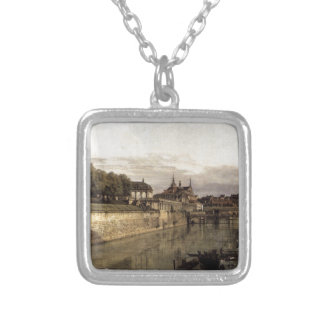 The Moat of the Zwinger in Dresden by Bernardo Square Pendant Necklace