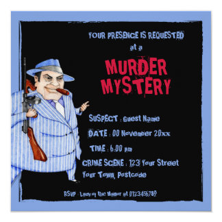 The Mob Boss black Murder Mystery Invitation