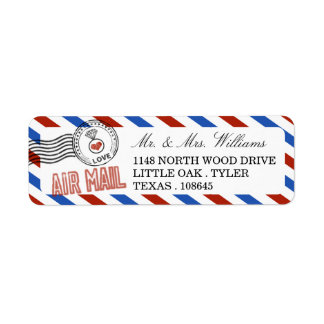 The Modern Airmail Wedding Collection Return Address Label