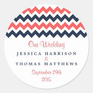 The Modern Chevron Wedding Collection Navy & Coral Classic Round Sticker
