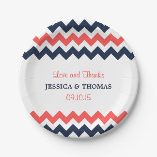 The Modern Chevron Wedding Collection Navy & Coral Paper Plate