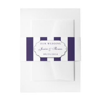 The Modern Navy Stripe Wedding Collection Invitation Belly Band