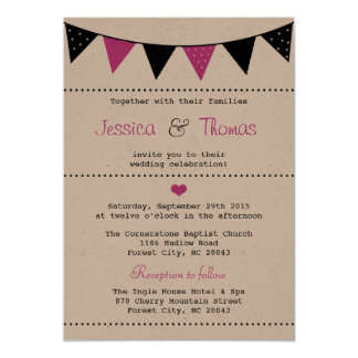The Modern Pink Bunting Wedding Collection Card
