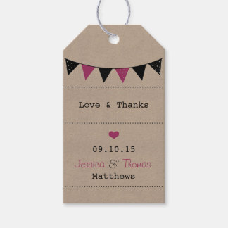 The Modern Pink Bunting Wedding Collection Gift Tags