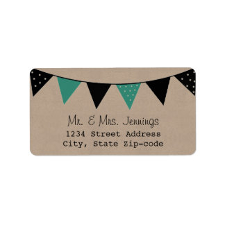 The Modern Turquoise Bunting Wedding Collection Label