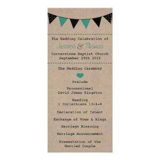 The Modern Turquoise Bunting Wedding Collection Rack Cards