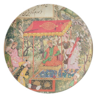 The Mogul Emperor Babur receives the envoys Uzbeg Party Plate