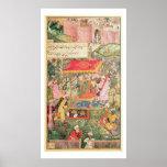 The Mogul Emperor Babur receives the envoys Uzbeg Poster