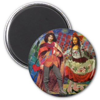 The Mona Lisa in Love 2 Inch Round Magnet
