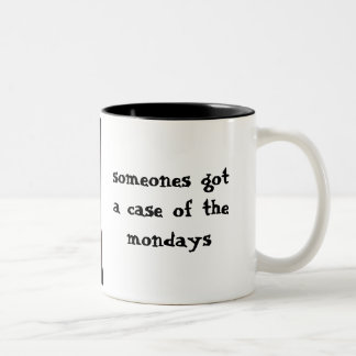 The Mondays Sad Cat on Monday Two-Tone Coffee Mug