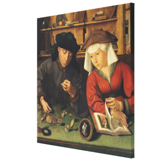 The Money Lender and his Wife, 1514 Gallery Wrap Canvas