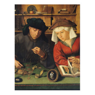 The Money Lender and his Wife, 1514 Postcard