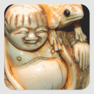 THE MONK AND THE FROG SQUARE STICKERS